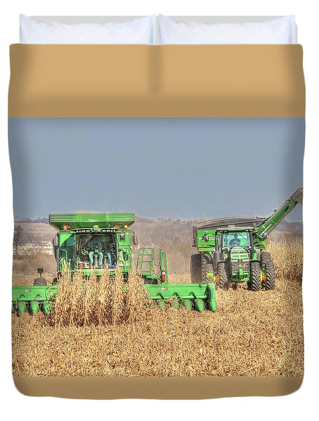 John Deere Combine Picking Corn Followed By Tractor And Grain Cart Duvet Cover