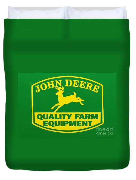 John Deere Farm Equipment Sign Duvet Cover by Randy Steele