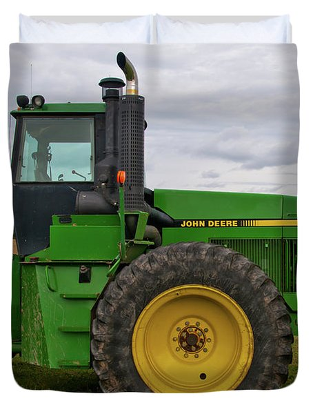 Duvet Cover featuring the photograph John Deere Green 3159 by Guy Whiteley