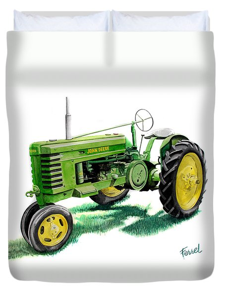 Duvet Cover featuring the painting John Deere Tractor by Ferrel Cordle
