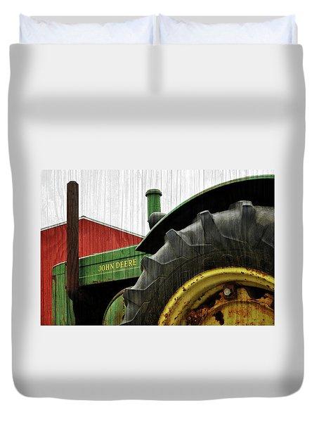 John Deere With Wood Grain Duvet Cover