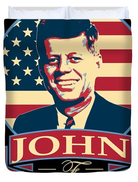 John F Kennedy American Banner Pop Art Duvet Cover