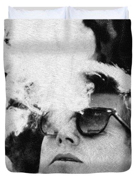 John F Kennedy Cigar And Sunglasses Black And White Duvet Cover