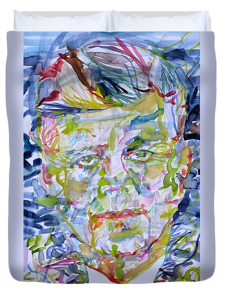 Duvet Cover featuring the painting John F. Kennedy - Watercolor Portrait.2 by Fabrizio Cassetta