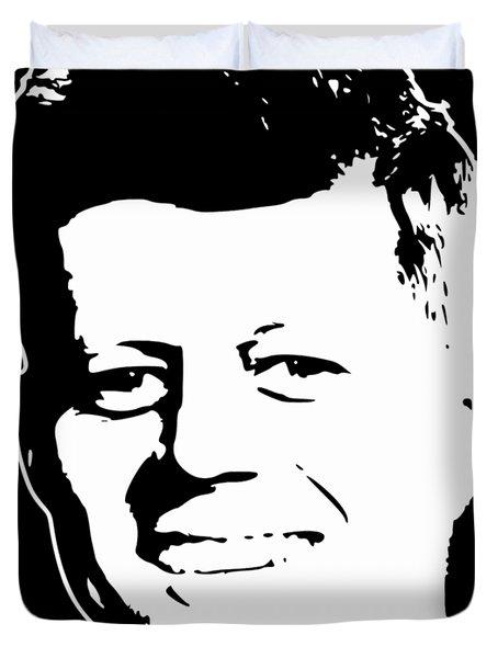 John F Kennedy White On Black Pop Art Duvet Cover