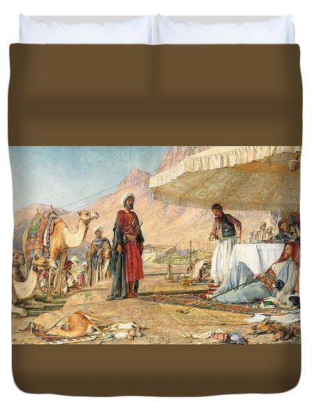 Duvet Cover featuring the photograph John Frederick Lewis Mount Sinai 1842 by Munir Alawi