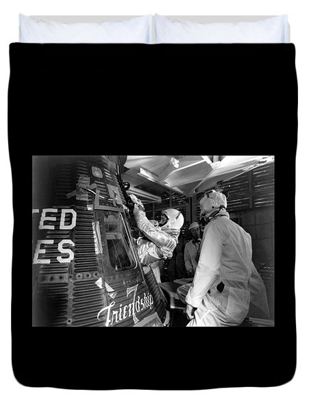 John Glenn Entering Friendship 7 Spacecraft Duvet Cover