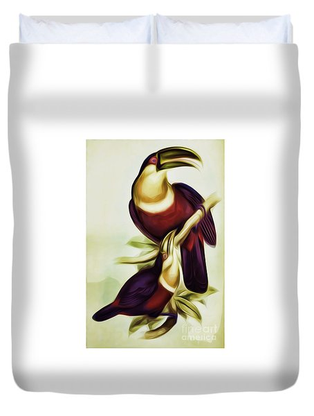 John Gould And Edward Lear Family Of Toucans Interpreted Duvet Cover