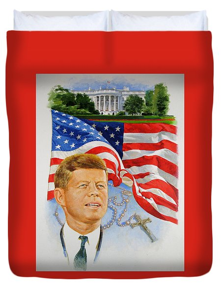 Duvet Cover featuring the painting John Kennedy Catholic by Cliff Spohn