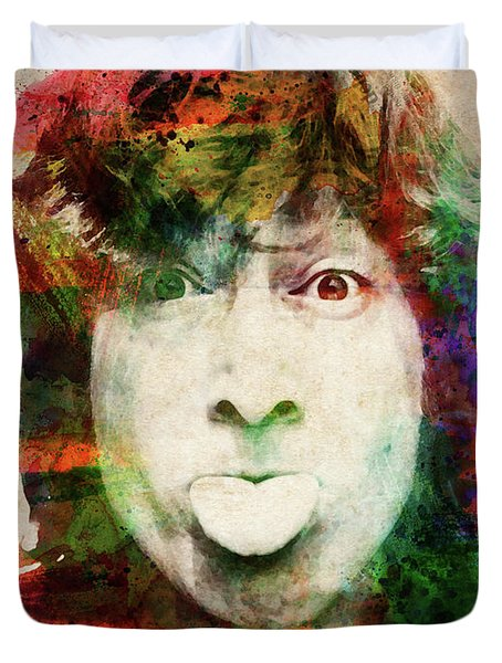 John Lennon Tongue Out Duvet Cover