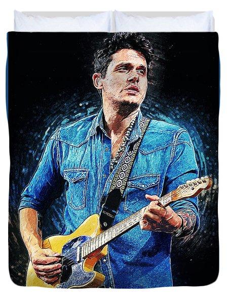 John Mayer Duvet Cover by Taylan Apukovska