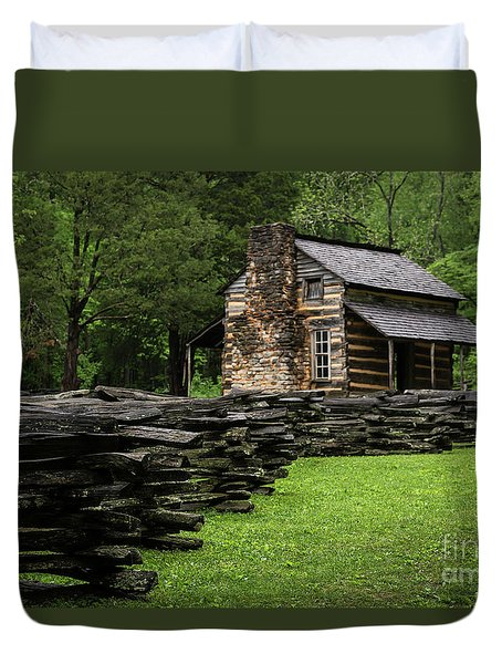 Duvet Cover featuring the photograph John Oliver Cabin by Andrea Silies