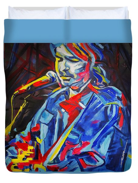 Duvet Cover featuring the painting John Prine #3 by Eric Dee