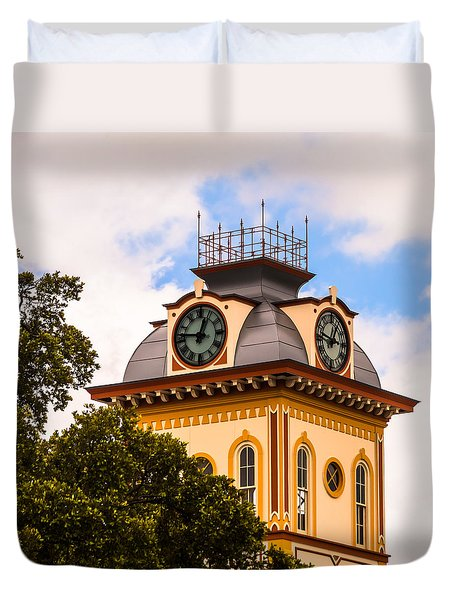 John W. Hargis Hall Clock Tower Duvet Cover