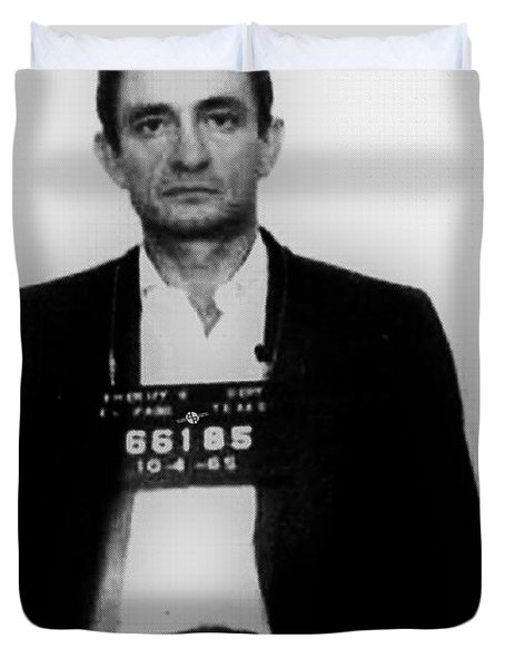 Johnny Cash Mug Shot Vertical Duvet Cover