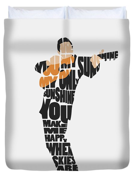 Duvet Cover featuring the painting Johnny Cash Typography Art by Inspirowl Design