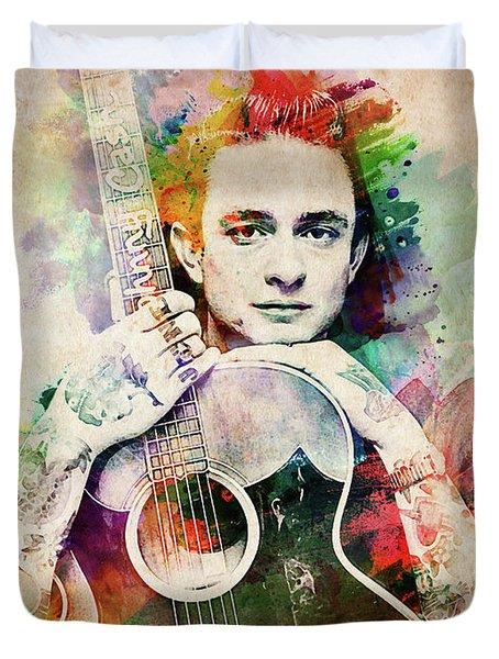 Johnny Cash With Guitar Duvet Cover