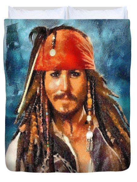 Duvet Cover featuring the digital art Johnny Depp As Jack Sparrow by Charmaine Zoe