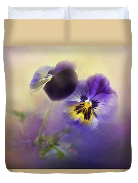 Duvet Cover featuring the photograph Johnny Jump Up by Theresa Tahara