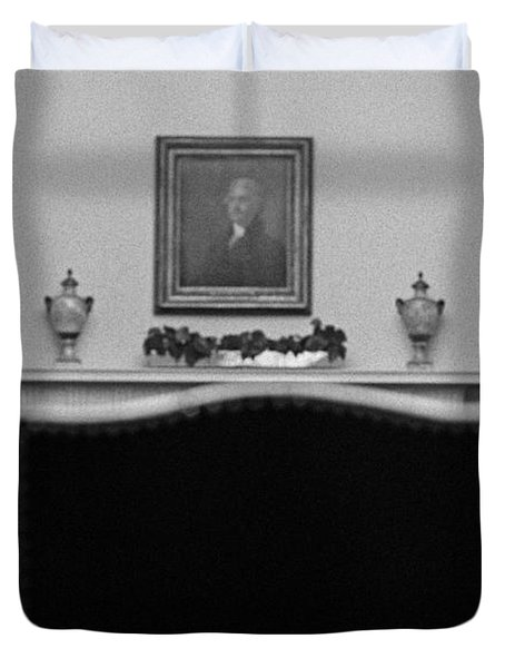Johnson And Nixon At The White House Duvet Cover