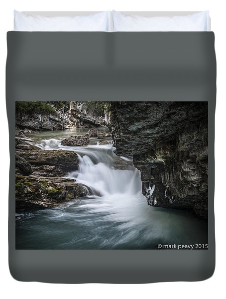 Johnson Canyon Waterfall Duvet Cover