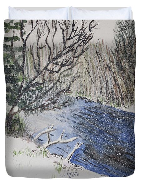 Duvet Cover featuring the painting Johnson Vermont In Spring Snow Storm by Donna Walsh