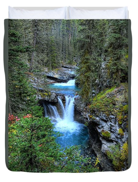 Johnston Canyon Falls Hike Lower Falls Duvet Cover