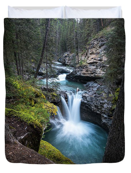 Johnston Canyon Waterfall Duvet Cover