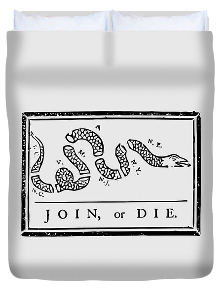 Join Or Die Duvet Cover by War Is Hell Store