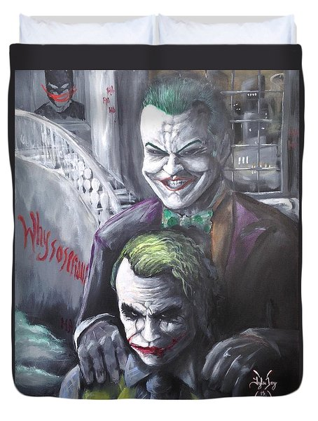 Jokery In Wayne Manor Duvet Cover by Tyler Haddox