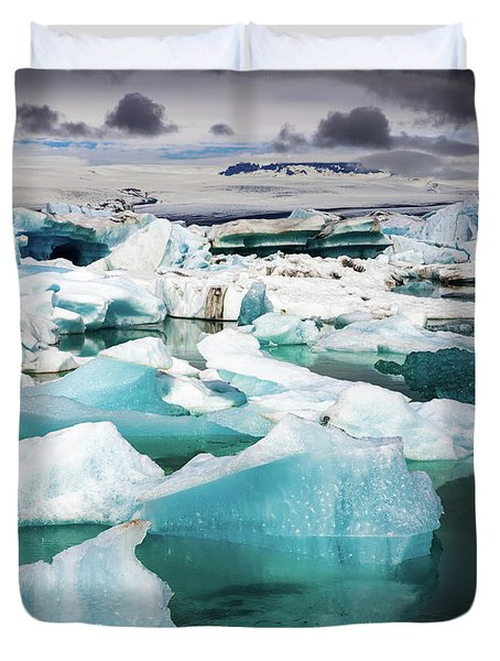 Duvet Cover featuring the photograph Jokulsarlon Glacier Lagoon Iceland With Icebergs by Matthias Hauser