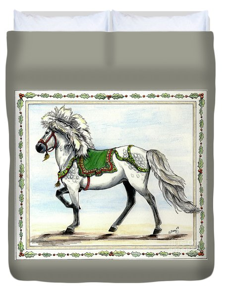 Duvet Cover featuring the painting Jol  by Shari Nees