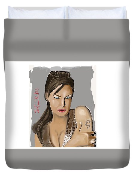 Duvet Cover featuring the digital art Jolie by Diana Riukas