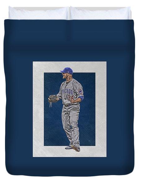 Jon Lester Chicago Cubs Art Duvet Cover