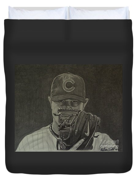 Duvet Cover featuring the drawing Jon Lester Portrait by Melissa Goodrich