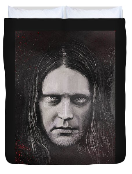 Duvet Cover featuring the drawing Jonas P Renkse Musician From Katatonia Band By Julia Art by Julia Art