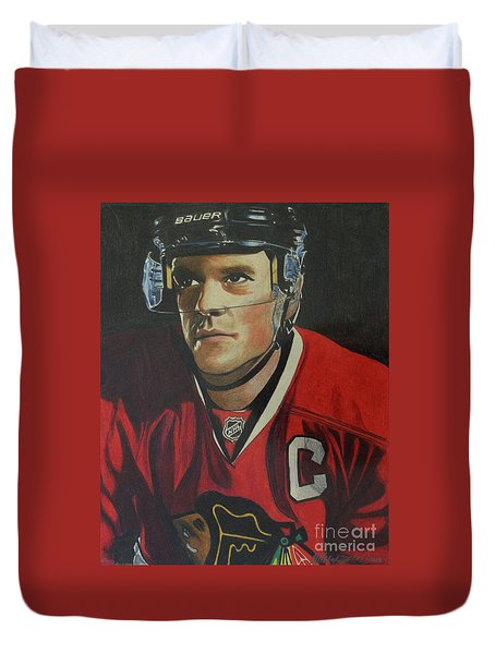 Jonathan Toews Portrait Duvet Cover