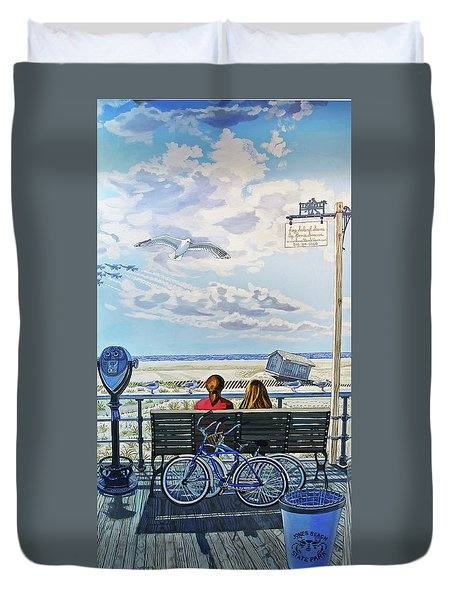 Jones Beach Boardwalk Duvet Cover