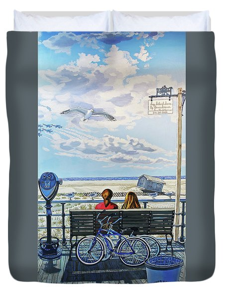 Jones Beach Boardwalk Towel Version Duvet Cover