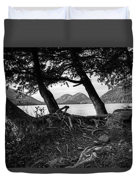 Jordan Pond - Acadia - Black And White Duvet Cover