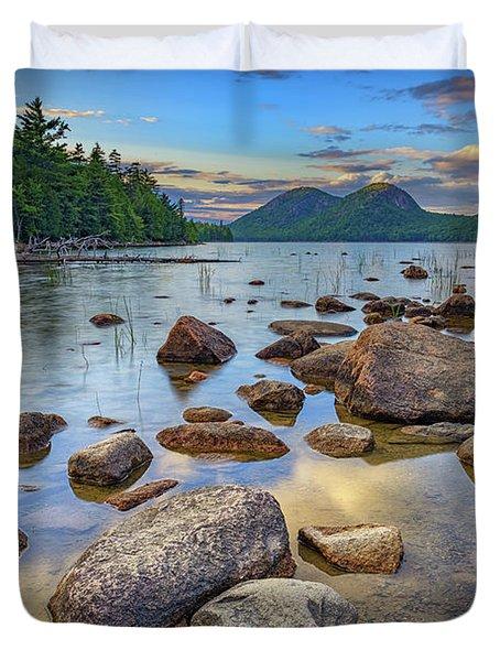 Jordan Pond And The Bubbles Duvet Cover by Rick Berk