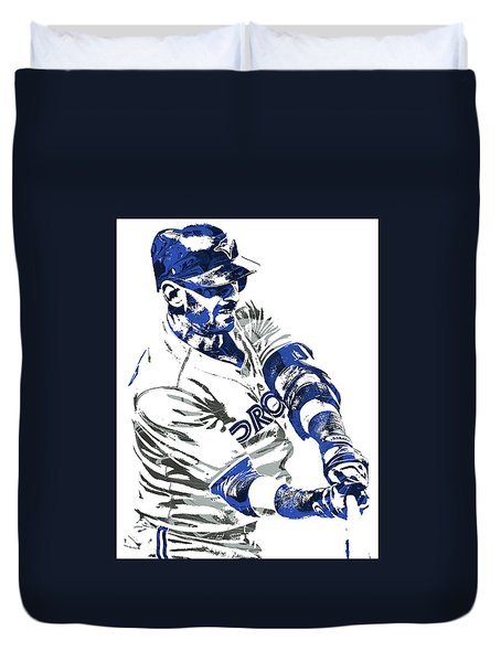 Duvet Cover featuring the mixed media Jose Bautista Toronto Blue Jays Pixel Art by Joe Hamilton