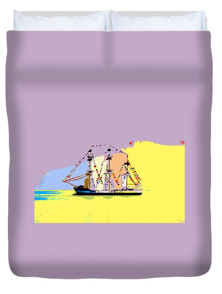 Duvet Cover featuring the painting Jose Gasparilla Sailing Colorful Tampa Bay by David Lee Thompson
