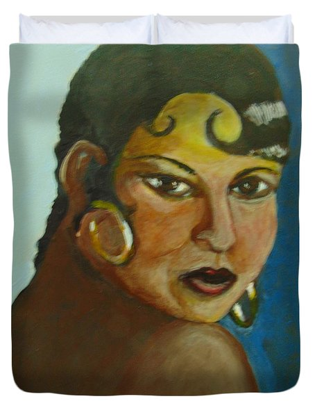 Duvet Cover featuring the painting Josephine Baker by Saundra Johnson