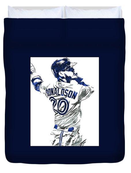 Duvet Cover featuring the mixed media Josh Donaldson Toronto Blue Jays Pixel Art by Joe Hamilton