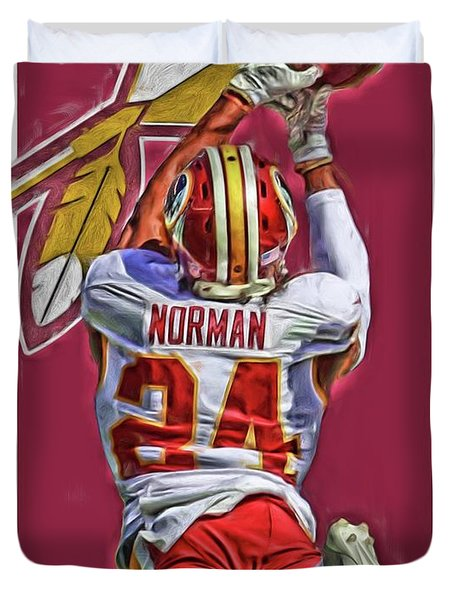 Josh Norman Washington Redskins Oil Art Duvet Cover