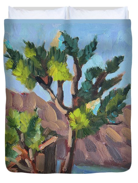 Duvet Cover featuring the painting Joshua At Keys Ranch by Diane McClary
