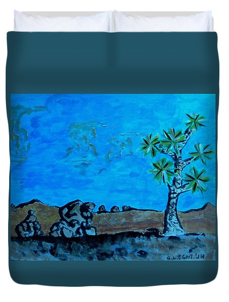 Duvet Cover featuring the painting Joshua Tree And Personality Of Rocks by Carolina Liechtenstein