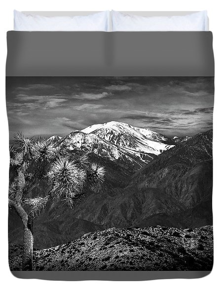 Duvet Cover featuring the photograph Joshua Tree At Keys View In Black And White by Randall Nyhof