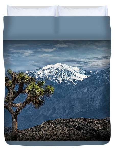 Duvet Cover featuring the photograph Joshua Tree At Keys View In Joshua Park National Park by Randall Nyhof